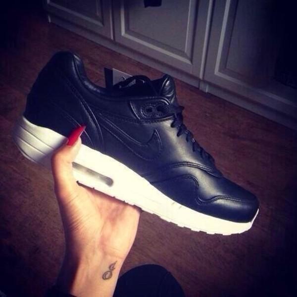 shoes nike air max 1 black leather air max air max leather nike air black shoes