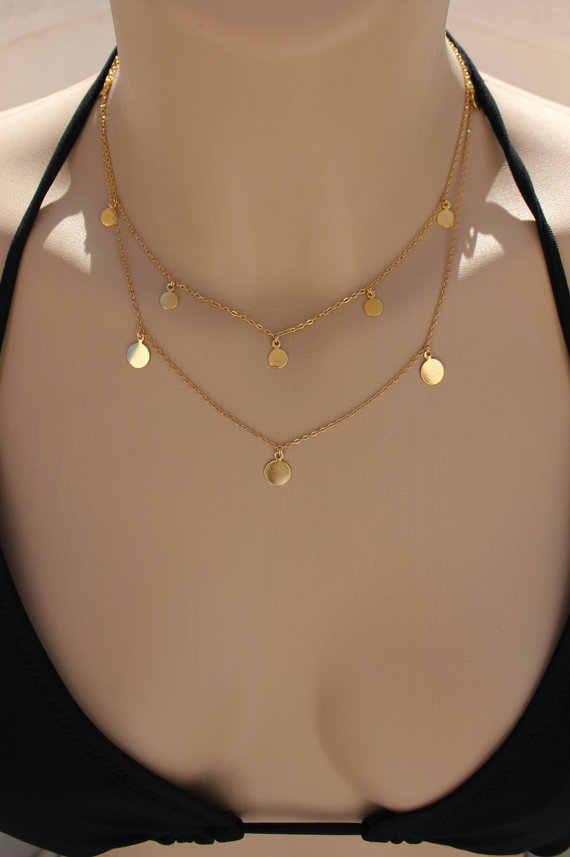 Coins /Disc NecklaceGold Plated by HelloSprings on Etsy