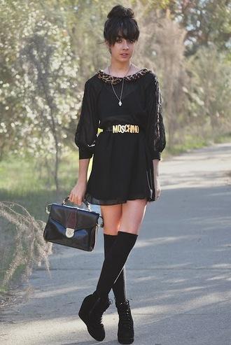 autilia leopard print collar black dress brown dress dress