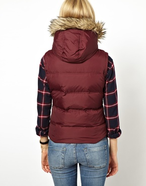 Jack Wills | Jack Wills Gilet With Faux Fur Trimmed Hood at ASOS