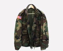 RWDZ Vintage Camo Studded Field Jacket/Coat | RUNWAYDREAMZ
