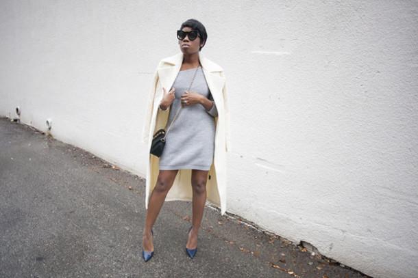 locks and trinkets blogger coat off-white grey dress dress shoes sunglasses
