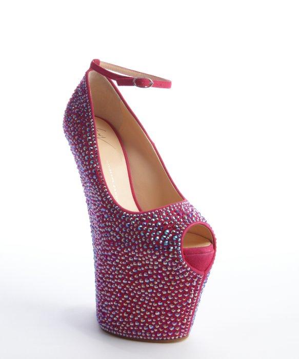 Giuseppe Zanotti hot pink crystal covered leather high platform heels | BLUEFLY up to 70% off designer brands