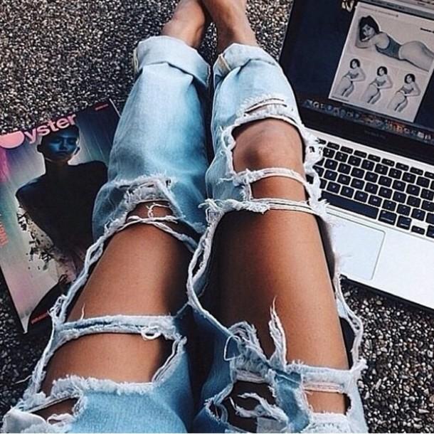 jeans ripped jeans ripped ripped boyfriend jeans macbook photo's photoshoot photocollage backless