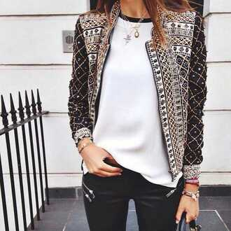 jacket coat black and white cute black gold vintage blouse balmain embroidered beaded embroidered jacket pretty trendy edgy embellished embellished jacket white top necklace fall jacket gemstone pendant boho jacket belt top brown mathu design fashion clothes sequins amazing love lovely wish beautiful girl girlish girly girly wishlist white bejewelled bejewelled jacket black jacket white blouse leather pants zipped pants black leather pants blazer women blazer elegant blazer elegant jacket bomber jacket gold and silver