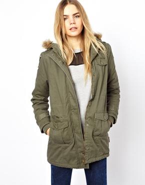 Bellfield   Bellfield Jacket With Faux Fur Trim Zip-Through Hood at ASOS