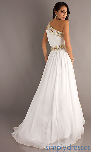 One Shoulder Grecian Gowns, Bari Jay Prom Gowns - Simply Dresses