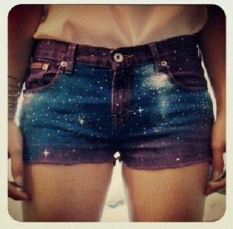 shorts galaxy high waisted shorts galaxy print teenagers outfit