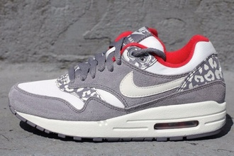 shoes air max nike panther leopard print white grey