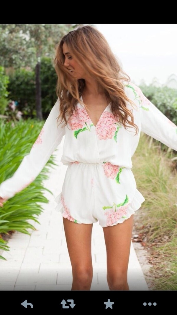 dress floral romper summer white dress fashion teenagers blouse