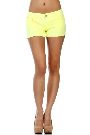 LoveMelrose.com From Harry & Molly | NEON YELLOW DENIM SHORTS
