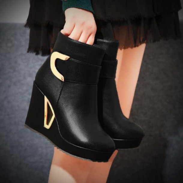 shoes booties black gold accents