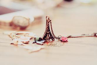 jewels paris eiffel tower jewelry necklace flowers romantic