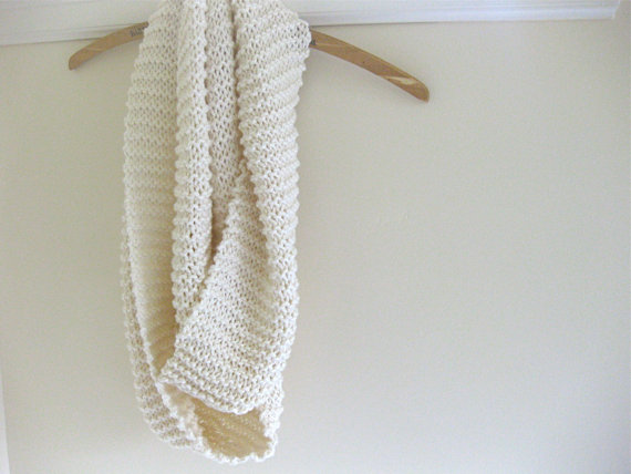 Cotton Infinity Scarf in Cream by postroad on Etsy
