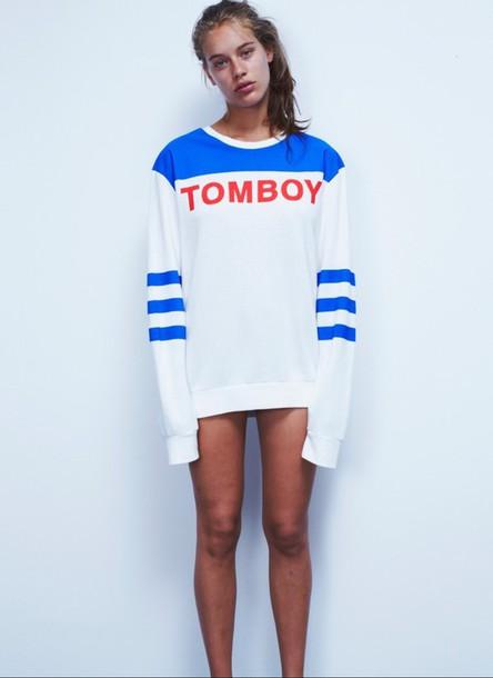 sweater blue white tomboy sweater