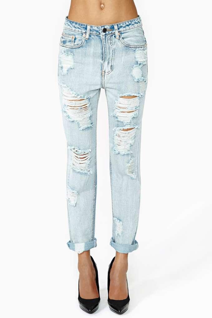 All Torn Up Boyfriend Jeans   Shop Denim at Nasty Gal