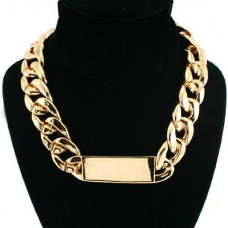 Celebrity Inspired - Rihanna - Gold ID Chain Link Statement Necklace