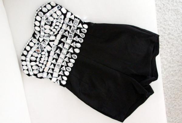 shorts jumpsuit black diamonds sequins sequins