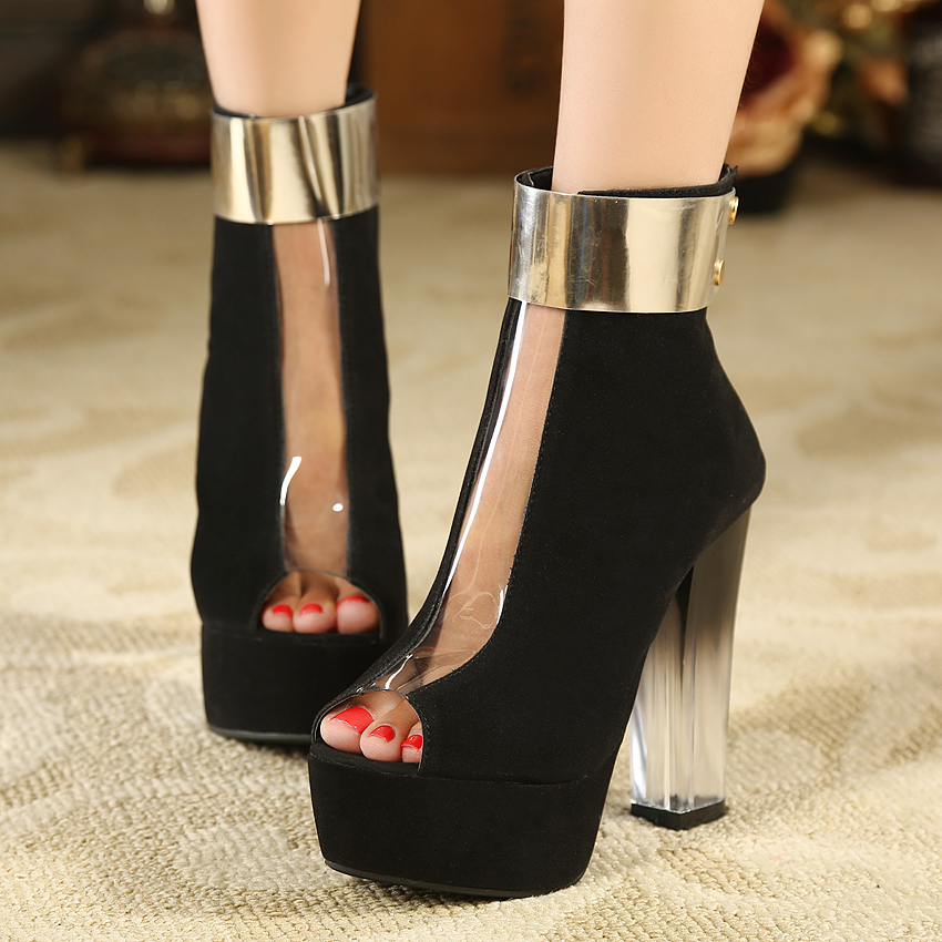 Free shipping new 2013 martin boots high heeled platform shoes female sandals black ankle boots clear plastic high heels 13cm-inBoots from Shoes on Aliexpress.com