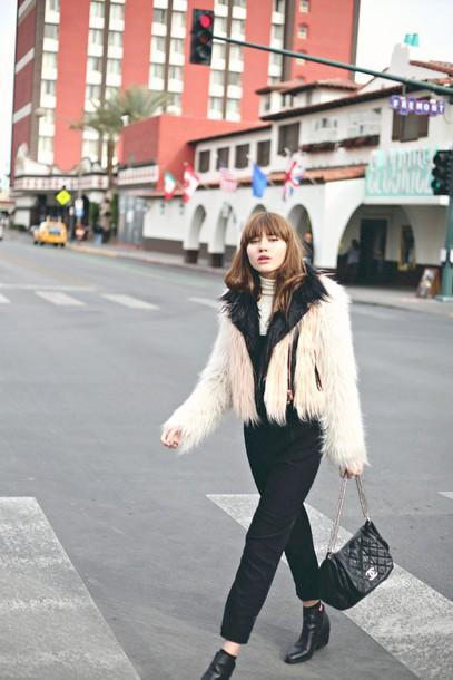 natalie off duty blogger coat jumpsuit bag fluffy