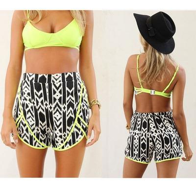 Fashion Geometry Mounted Color Waist Shorts 183 Fe Clothing