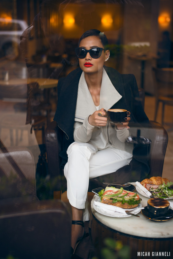 micah gianneli sunglasses t-shirt coat jacket pants bag shoes