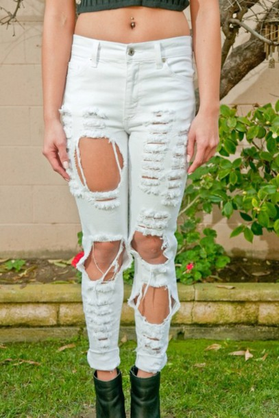 jeans ripped jeans white jeans