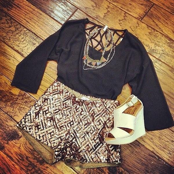 shorts sequins gold bronze blouse