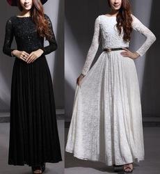 Online Shop 2013 spring summer white black lace paillette long dress long sleeve bohemia pleated casual one-piece dress larger size plus|Aliexpress Mobile