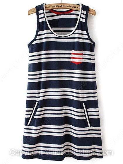 Navy Tank Sleeveless Striped Dress - HandpickLook.com