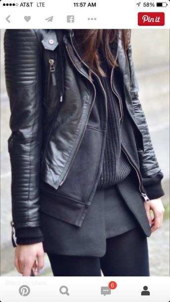 coat black leather motorcyclejackrt