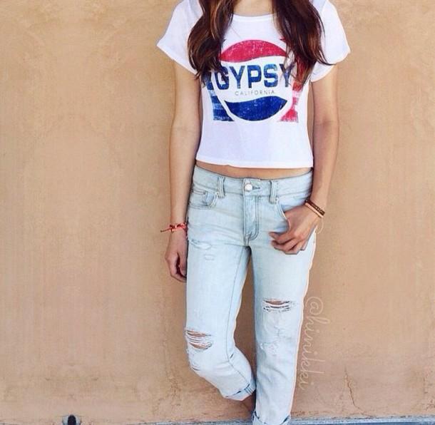 shirt pepsi blouse red blue shirt t-shirt gypsy