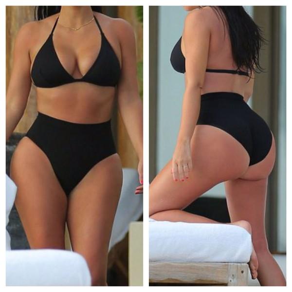 swimwear black bikini high waisted bikini kim kardashian kim kardashian bikini thong bikini white bodycon midi dress