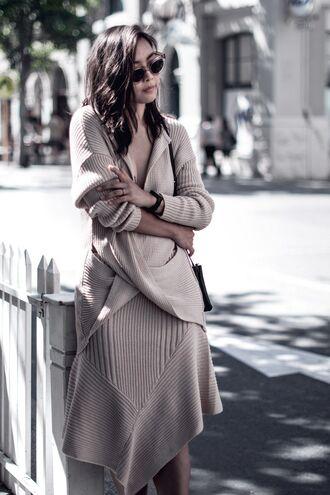 dress tumblr nude dress midi dress long sleeves long sleeve dress knitwear knitted dress sweater dress asymmetrical asymmetrical dress sunglasses