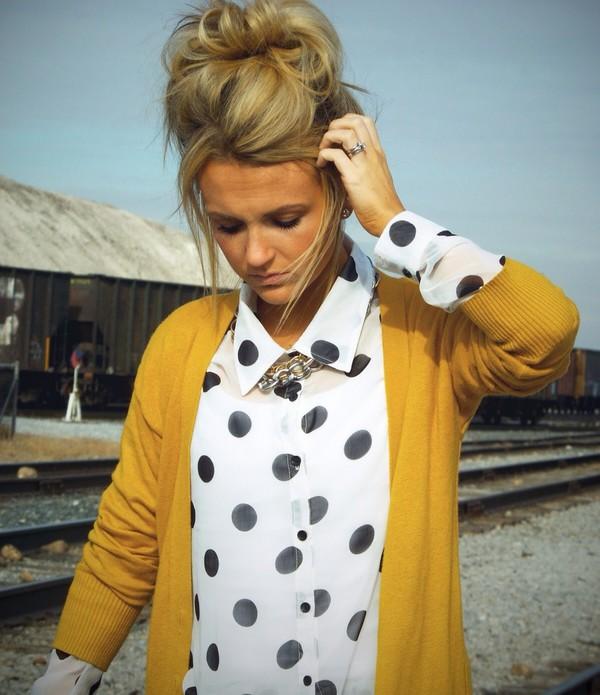 blouse button up black white polka dots collared shirts longsleeve shirt sheer chiffon cardigan
