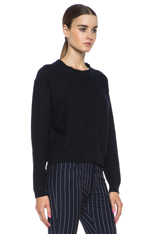 Acne Studios|Bird Linen Sweater in Navy/Black