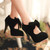 Fashion Round Closed Toe Front Bow Tie Embellished Stiletto High Heels Black Leather Pumps | MamaSexyShoes.com | Boots | Flats | Pumps | Sandals | Slippers |