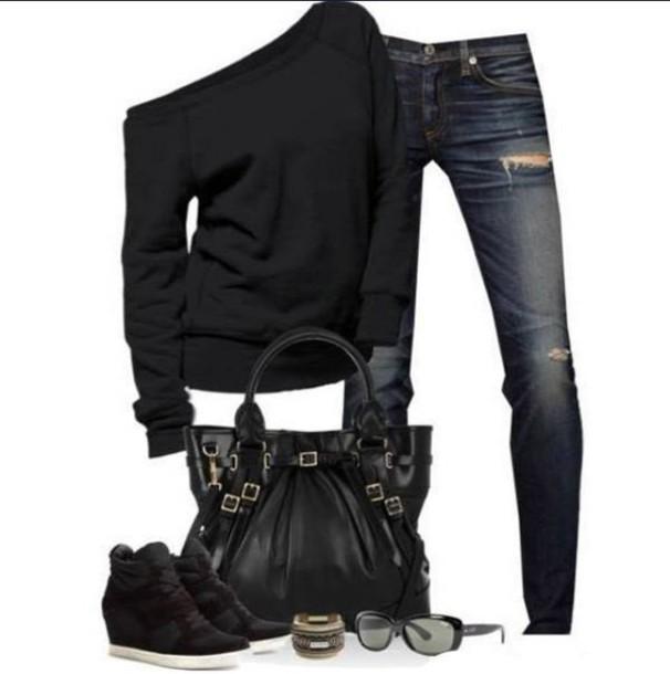 sweater black shoes fall sweater jeans black sweater oversized sweater off the shoulder sweater hole jeans dark denim pants bag black tote bag blouse fashion shirt