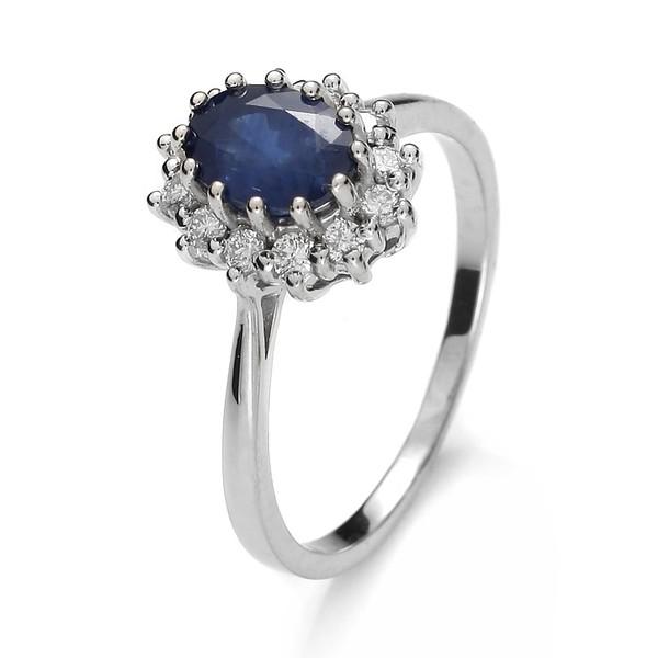 jewels impressimo white gold classic diamonds diamond rings sapphire ring engagement ring pierścionek szafir pierścionek z szafirem z brylantami białe złoto blue wedding accessory