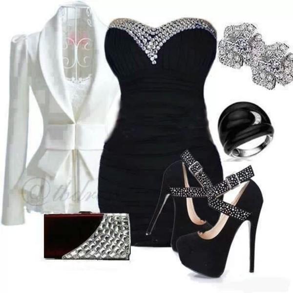 dress black black and white white jacket little black dress coat