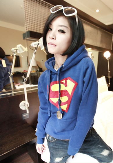 2013 Women's Autumn And Winter Clothes Korean Ladies Fashion Thick Fleece Hooded Sweater Superman Coat , #1634 Free Shipping-in Hoodies & Sweatshirts from Apparel & Accessories on Aliexpress.com