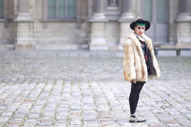 let's get flashy blogger hat faux fur jacket jacket dress shoes coat sunglasses