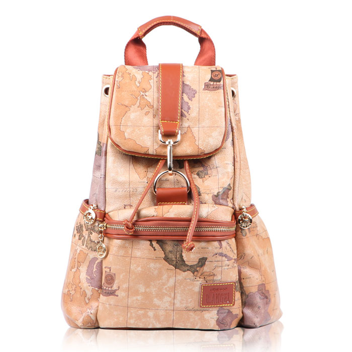 Vintage World Map Leisure Backpacks-brown on Luulla