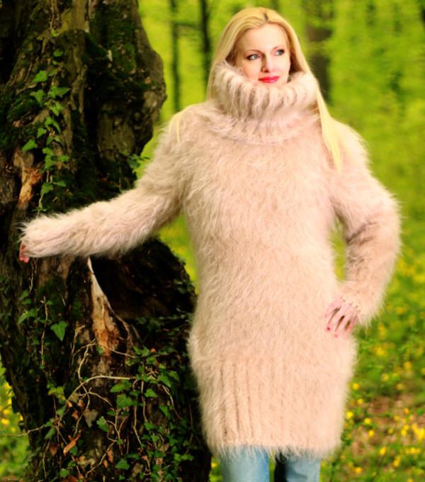 sweater hand knit made mohair dress supertanya turtleneck soft fluffy fluffy angora cashmere wool alpaca