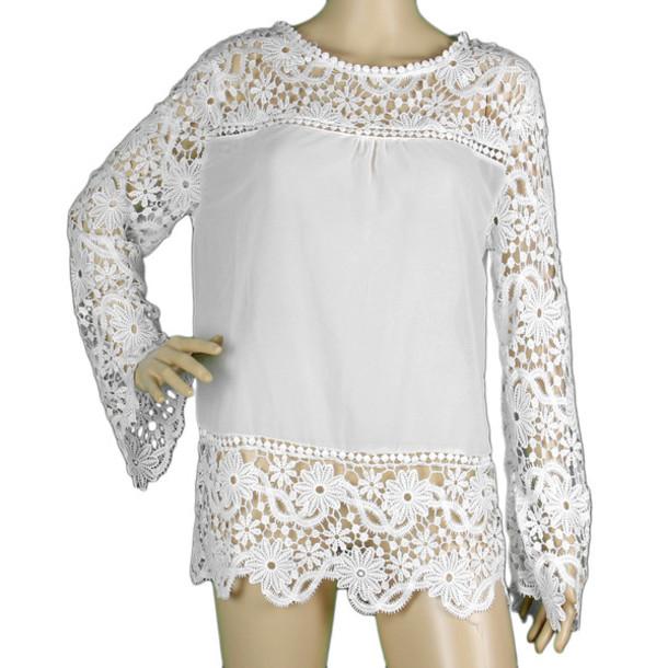 blouse patchwork lace blouse lace blouses chiffon blouse hollow lace hollow dress hollow out blouse hollow out t-shirt hollow out top crochet blouse crochet top crochet dress embroidery blouse