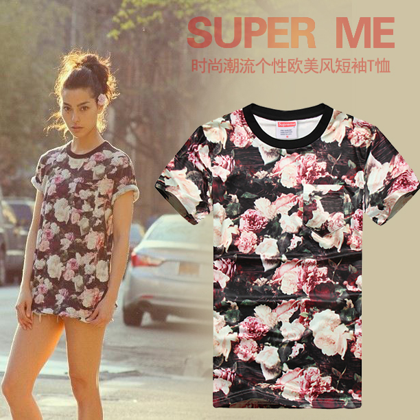 2014 brand t shirt flowers USA Supreme power lovers short sleeved tshirts men's tag label Tops Tees pocket T Shirts size S XXXL-inT-Shirts from Apparel & Accessories on Aliexpress.com