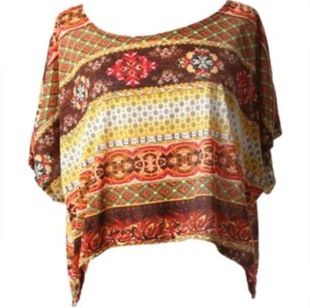 shirt aztec top crop tops