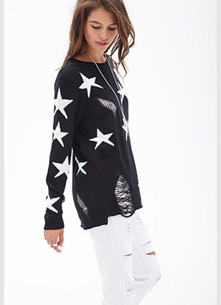 sweater stars ripped jeans black sweater