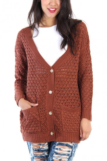 LoveMelrose.com From Harry & Molly   Button Up Knit Cardigan - Orange