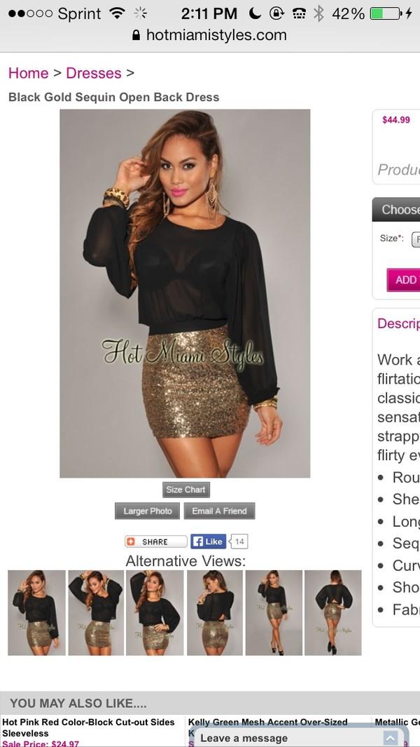 dress black gold sequins party birthday 2014 miami
